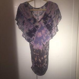 Gypsy 05 tie dyed Medium ruched mini dress purple